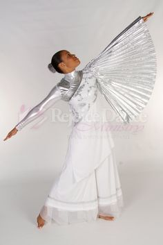 The Bride One Shoulder Pleated Sleeve Tunic w/Embroidered Chest - Praise & Worship Dance Wear