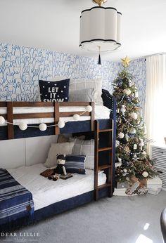 Holiday Housewalk 2020 - Dear Lillie Studio Christmas Living Rooms, Christmas Bedroom, Cozy Christmas, Living Area, Living Spaces, Narrow Rooms, Dear Lillie, Christmas Entertaining, Basket Shelves