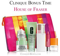 This is new gift with new cosmetics bag from House of Fraser. Yours with any 2 Clinique products purchase, one to be a skincare product. http://clinique-bonus.com/united-kingdom/