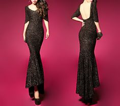 Sexy Style Short Sleeves Open Back Sequin Maxi-Dress For Women (BLACK,M) | Sammydress.com