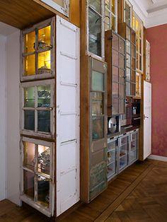 Old Windows into fun cabinet doors