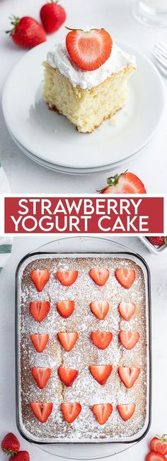 This Strawberry Yogurt Cake is so moist and and delicious. It's a refreshing cake made with fresh strawberries and strawberry yogurt that is perfect all year long! #strawberrycakes #healthystrawberrycakes #stawberrydessertrecipes #healthydesserts #intuitiveeating Strawberry Yogurt Cake, Healthy Fruit Desserts, Chocolate Crunch, Marshmallow Treats, Trifle Pudding, Homemade Spices, Blueberry Bread, Let Them Eat Cake