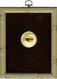 """Tabitha Vevers - Lover's Eye (Victorine Meurent) after Manet, 2004, oil on ivory, 1 1/5"""" circle - one of a series"""