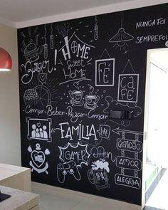 """1,257 curtidas, 22 comentários - ᗩᒪEᒍᗩᑎᗪᖇO ᒍOᕼᑎᔕTOᑎ (@designerjh) no Instagram: """"Que responsabilidade fazer uma arte na casa de uma designer de interiores. Projeto realizado com…"""" Blackboard Art, Chalkboard, Wall Design, House Design, Chalk Wall, Chalk Lettering, Bedroom Decor, Wall Decor, Home Wallpaper"""