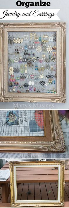 Check out this easy idea on how to make a #DIY framed jewelry organizer for #homedecor on a #budget #crafts #project @istandarddesign