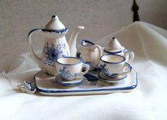 Vintage Delft minature tea set Holland set of by jensdreamvintage, $19.50