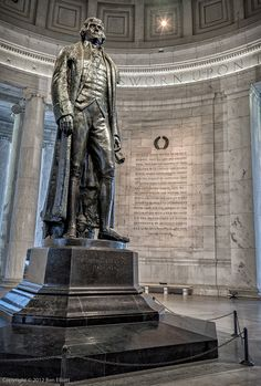 Jefferson Statue - Thomas Jefferson Memorial to his hard work and for his help to create the declaration of independent. This is Thomas jefferson  statue, he was our 1st President