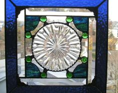 using depression ware plates in stained glass - Google Search