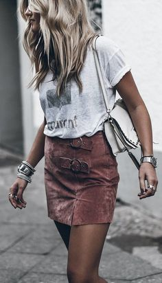 #fall #outfits women's gray t-shirt and brown mini skirt