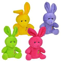 "Bulk Brightly-Colored Plush Bunnies, 8"" at DollarTree.com - Fuzzy, cuddly, and soft — bright little plush bunnies are the perfect companion to Easter baskets. Plush bunnies with huge floppy ears come assorted among pink, green, yellow, and purple, and al"