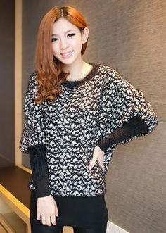 Korean Fashion Leopard Bat Sleeve Sweater