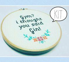 Cross Stitch Kit - Gin - Gym - Modern Cross Stitch - Gifts - Funny - Quote Cross Stitch - Gin Cross Stitch - Gym & Tonic