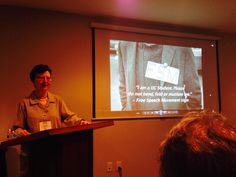 """Therese Pipe of the Berkeley Historical Society presenting the special video screening of """"Inside the Free Speech Movement"""" by Linda Rosen."""