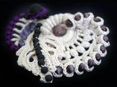 White off crochet brooch, Beaded brooch, Abstract handmade brooch, Freeform crochet brooch, Asymmetrical crochet jewelry, Art of crochet