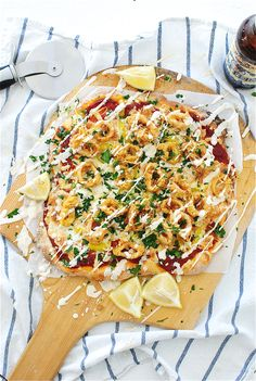 Beer-Battered Fried Calamari Pizza / Bev Cooks plus a list of all the trashed up recipes for Jessica's Baby Shower!