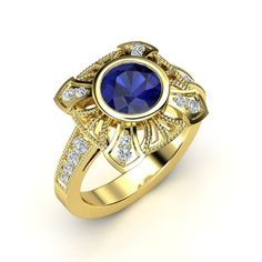The Sansa Ring customized in blue sapphire, diamond and yellow gold