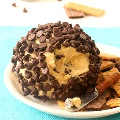 Chocolate Chip Cookie Dough Cheese Ball means eating chocolate chip cookies in spreadable form for parties.