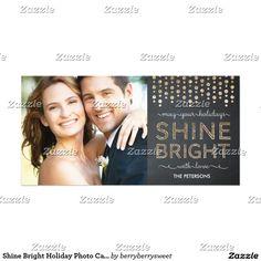Shine Bright Holiday Photo Card - Gold