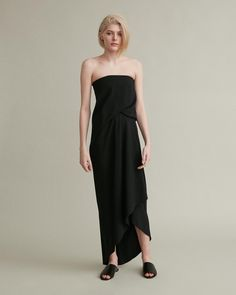 Elegant strapless dress with a draped front and interior boning for structure. Strapless Boned sides High-low hemline Draped body Viscose Acetate Model is ft 10 in and is wearing an IT size 38 Draped Dress, Strapless Dress Formal, Formal Dresses, Retail Concepts, Cool Suits, Apothecary, Designing Women, Hemline