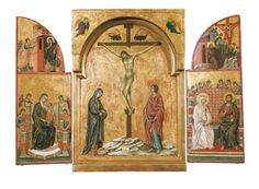 Duccio di Buoninsegna (active 1278 - before 1319). Triptych: Crucifixion and other Scenes.  1302 - 1308.  Tempera on panel. (Royal Collection Trust, UK http://www.royalcollection.org.uk/collection/400095/triptych-crucifixion-and-other-scenes)