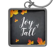 #Custom Maple Leaf Blackboard Fall Season Even Keychain - #chalkboard #gifts