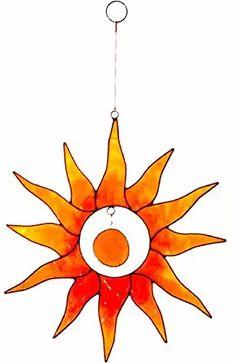 Sonnen-Fänger, groß, gelbe und orangefarbene Sonne, mit Glas-Nuggets