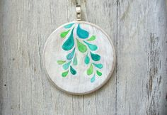 hand painted pendant necklace sterling silver by MessyBedStudio, $18.00