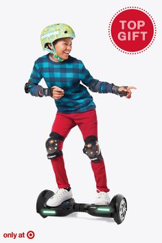 Now here's something that all the kids have on their wish list this season. The Jetson V6 Hoverboard is portable, re-chargeable and self-balancing. But the fun doesn't stop there. It's got built-in Bluetooth speakers, adjustable LED lights and can be controlled with an app on your phone. Anyone can master the art of riding in no time and the experience is a whole lot of fun. It's a great holiday gift idea for beginners, intermediate riders or pros. Get it now, exclusively at Target.