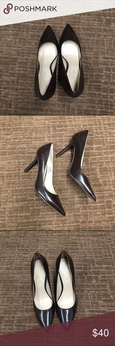 Nine West Martinar Jackpot pointy Toe Pumps Nine West extraordinarily classy pair of pumps and pretty much brand new - worn once for few hours . Classic elegant design Pointed Jackpot Toe. The upper is leather . Balance man made. Brand Nine West Style Martinar color Brown, Heel 4inch, Size 6, width M. These shoes will do the job of providing you a sense of comfort for a day at work or the sexy edge when you party . ALL SALES are Final Nine West Shoes Heels