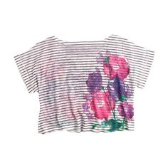 Piper Striped Daisy Tee (68 HRK) ❤ liked on Polyvore featuring tops, t-shirts, shirts, tees, knit tops, view all tops, pink striped shirt, floral t shirt, short sleeve shirts and colorful t shirts