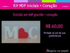 Kit MDF iniciais + Coração