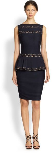 Lacetrimmed Ribbed Peplum Dress - Lyst