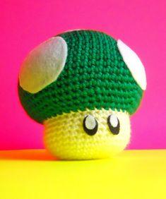 Green Mario 1-UP Mushroom - Amigurumi Hand Crocheted Plush inspired by Super Mario Bros. $42.00, via Etsy.