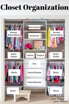 She how she organized her kids closet to make it more functional for a shared bedroom closet. Easy Girls room closet makeover on a budget. Smart bedroom closet storage ideas DIY . Kids Closet Storage, Girls Closet Organization, Boys Closet, Closet Bedroom, Diy Closet Ideas, Girls Room Storage, Baby Room Closet, Storage Room Organization, Shared Closet