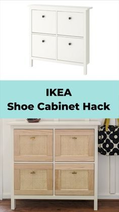 Cute Furniture, Diy Furniture Plans, Furniture Projects, Ikea Furniture Hacks, Ikea Hacks, Furniture Design, Ikea Hemnes Shoe Cabinet, Ikea Dresser Hack, Dresser Plans