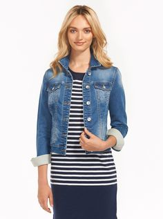 5580d136567 Image for Knit Denim Trucker Jacket from Just Jeans Jumpers For Women