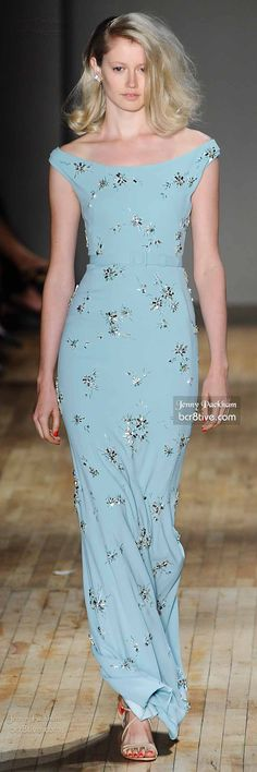 Jenny Packham Spring 2015 RTW ... Love the off shoulder look...so sleek and the color/fabric is great.