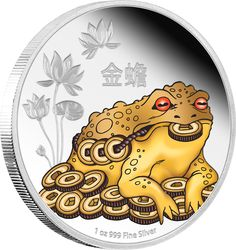 Lucky new #FengShui 1 oz #SilverCoin release, featuring the #MoneyToad. This engraved and coloured coin features a traditional image of the mythical money toad, surrounded by coins, set against a polished background of engraved lotus flowers. The Money Toad is an important motif in Feng Shui and is believed to represent financial protection and turn financial strife into good luck.  http://www.nzmint.com/coins/coin-collections/feng-shui-coins.htm