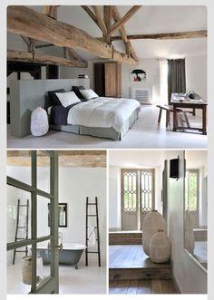 Rustic open bedroom
