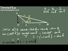 Demostración ley de senos Decimal, Arabic Calligraphy, Math Equations, Trigonometry, Engineering, Shape, Law Of Cosines, Fractions, Finance