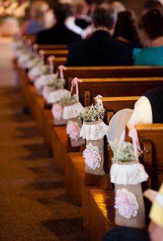 rustic wedding flowers for church pew Church Pew Decorations, Lace Wedding Decorations, Wedding Flowers, Ceremony Decorations, Fall Wedding, Rustic Wedding, Wedding Ceremony, Our Wedding, Wedding Ideas