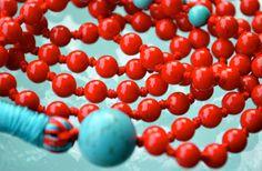 Red Coral Turquoise Hand Knotted Mala 108 Beads Necklace - Energized K – AwakenYourKundalini
