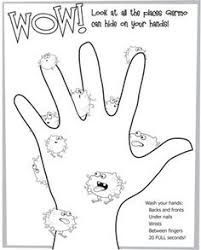 free printable coloring page to teach kids about hygiene germs are