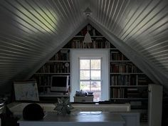 Attic office with built ins