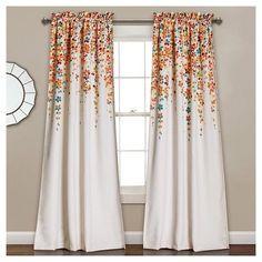 "Weeping Flowers Room Darkening Window Curtain Set Turquoise & Tangerine (52""x84"") - Lush Décor : Target"