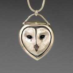 Brooke Stone Jewelry Silver Barn Owl pendant. Cast sterling silver w/ Onyx eyes   1 1/2 inch length CUTE!!