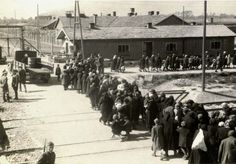 Birkenau, Poland, A group of Jews walking towards the gas chambers and crematoria 2 and 3, 27/05/1944​.