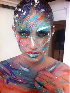 karlapowellmua:    Behind the scene shot of my body painting makeup work I did for MindGame Magazines First Issue where I am Beauty Editor!  We called this 'Gestural Abstraction'! To see how I created the look step by step and more tips on trends and my favourite's this season check out MindGame Magazine Issue 1 on this >link  Karla   X    inspiring!