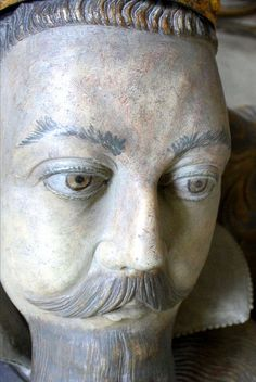 A close-up of the tomb effigy of Robert Dudley, Earl of Leicester from his tomb in St. Mary's Church, Warwickshire. Image from Peterinlille on Flickr.