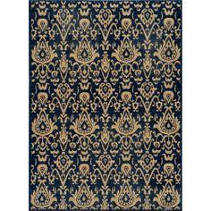 Ikat Chic Navy Wool Rug (9'10 x 12'6)   Overstock.com